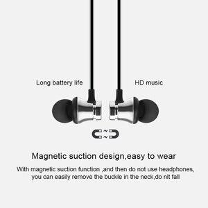Image 4 - Sport bezprzewodowy zestaw słuchawkowy Bluetooth słuchawki magnetyczne słuchawki bezprzewodowe bas radiowy muzyka słuchawki douszne z mikrofonem dla Xiaomi
