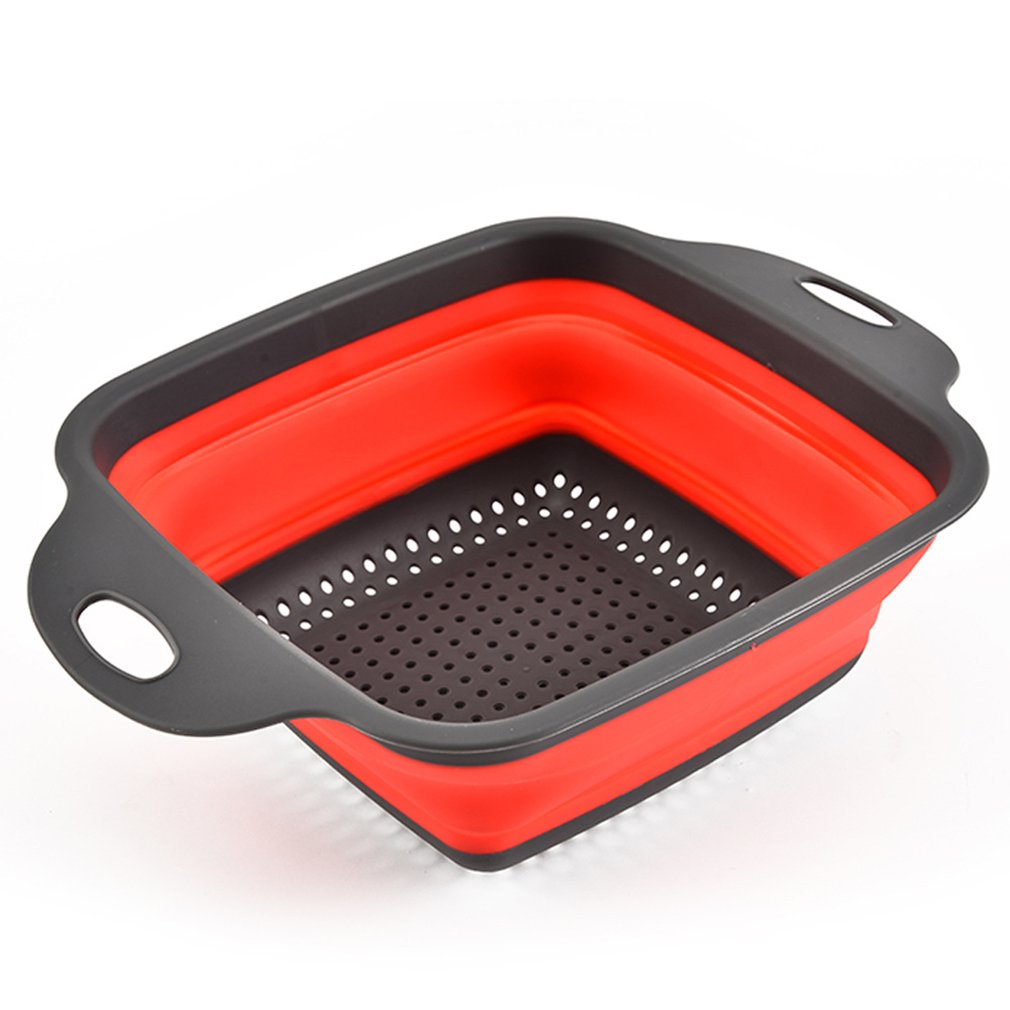 Square Foldable Drain Basket Plastic Fruit Basket Filter Basket Multi-function Washing Dish Telescopic Basket