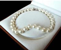 Rare Huge Genuine White 12mm South Sea Shell Pearl Heart Clasp Necklace 17inch LONG Lovely Women's Wedding Jewelry Pretty!