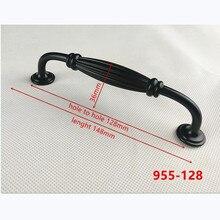 Цинковый сплав, черный цвет, для шкафов ручки американский стиль для двери кухонного шкафа ручки для выдвижных ящиков модная мебель ручка B-955-128
