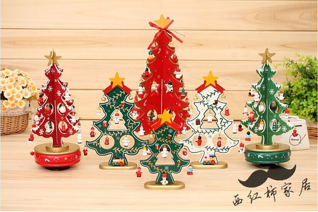 weeding decoration wooden desk christmas gifts christmas tree ornaments christmas decorations zakka small christmas tree