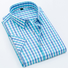 Shirt Summer Mens Plaid Short Sleeve Business Casual Cotton Slim