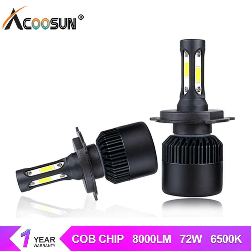 Acoosun bombillas led h7 h4 led car headlight H11 H1 H13 H3 9004 9005 9006 9007 72W 8000LM 6500K luces led para auto 12V 24V