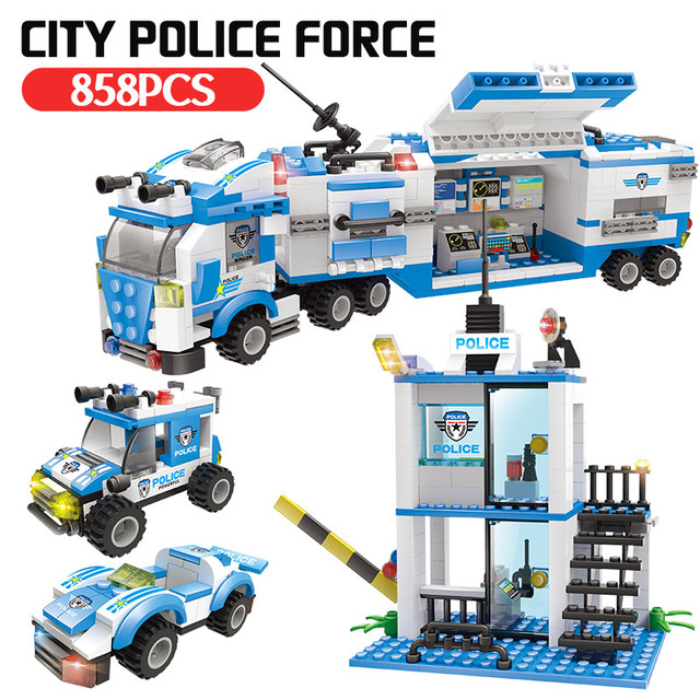 Anti-Terrorism Police Station + Police Model Building Blocks Compatible City Building Technic Set Children Toy Gift