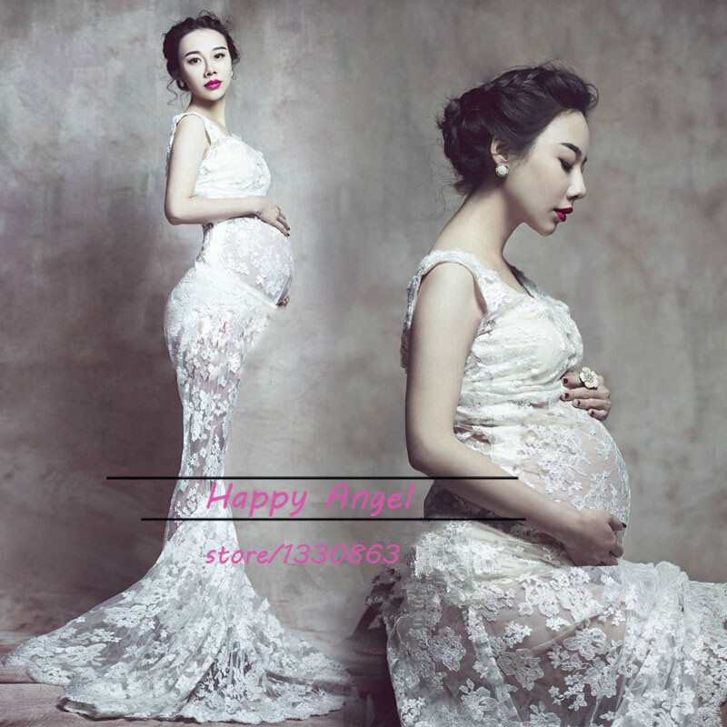 New Maternity Pregnant Women Photography Props Noble Trailing Dress White Mermaid Pregnancy Fashion Costume Personal Photo Shoot куртка кожаная tantra tantra ta032ewmso37