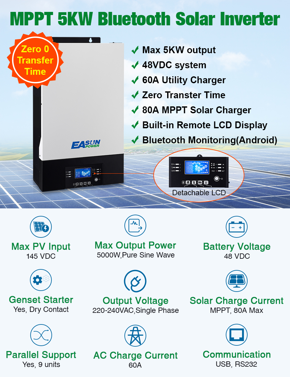 EASUN POWER 5000W Parallelable Solar Inverter Zero Transfer Time 80A MPPT 60A AC Charger 48Vdc 230Vac With Bluetooth Monitoring