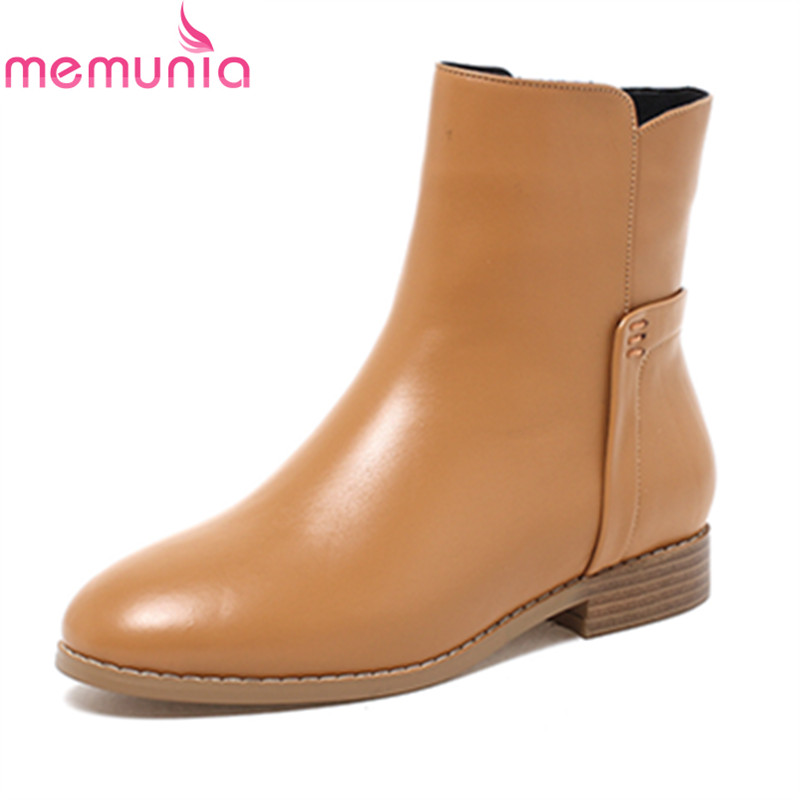 MEMUNIA spring autumn fashion leisure women ankle boots low heel round toe high quality genuine leather black ladies shoes memunia spring autumn popular genuine