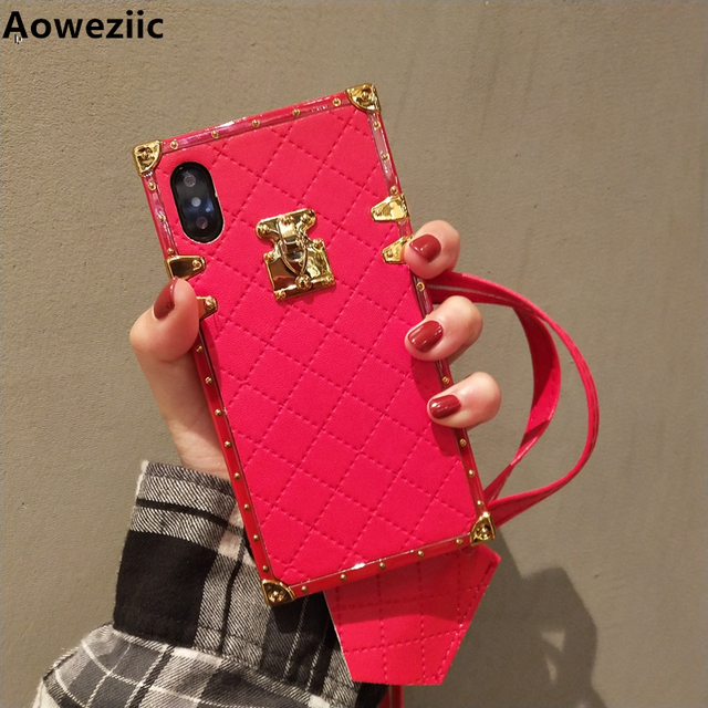Aoweziic الفاخرة العلامة التجارية الجلود حقيبة لهاتف أي فون 11 برو ماكس xr xs ماكس جراب هاتف الغطاء الخلفي 6s 7 8 زائد بو لينة قذيفة مع حزام
