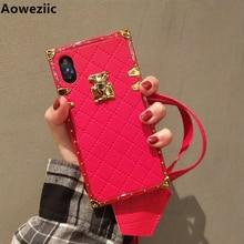 Aoweziic แบรนด์หรูสำหรับ iPhone 11 pro max xr xs max โทรศัพท์ 6s 7 8 Plus PU นุ่มพร้อมสายคล้อง
