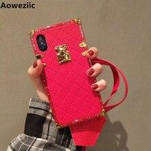 Aoweziic 高級ブランド革ケース iphone 11 プロマックス xr xs 最大電話ケースバックカバー 6s 7 8 プラス PU ソフトシェルとストラップ