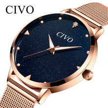CIVO Watches Women Top Brand Luxury Casual Watches Clock Rose Gold Mesh Stainless Steel Ladies Wrist Watch Lady Relogio Feminino все цены