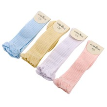 Toddlers Baby Girls Boys Knee High Socks Leg Warmers Solid Cotton Good Air Permeability Sock For