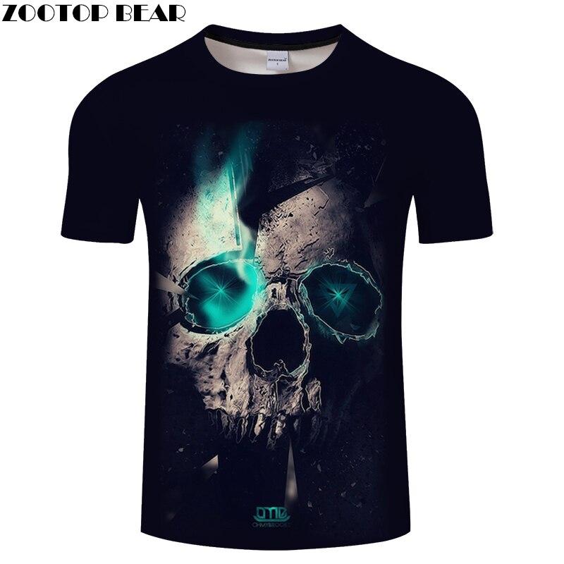 Blue Light Skull tshirt 3D T-shirt Male t shirt Summer Tee Quality 6XL Top Male Harajuku Short Sleeve O-neck Dropship ZOOTOPBEAR
