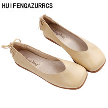HUIFENGAZURRCS-Sheepskin square head shallow flat sole female soft retro grandma shoes back fastened with lazy