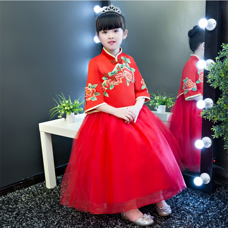 2017 New Chinese Style Embroidery Flowers Red Princess Mesh Dress For Girls Children Birthday New Year Christmas Festival Dress new year spring 2016 new corduroy pleated dress dress red princess dress