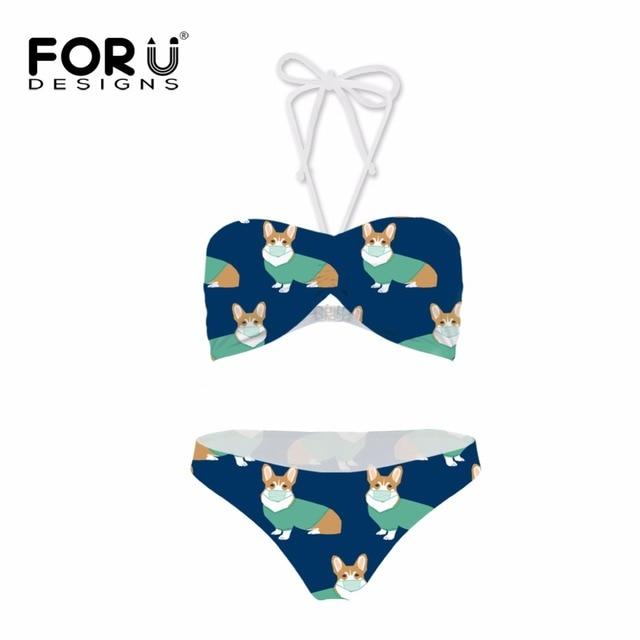 70f24e4217 FORUDESGINS Swimwear Women Bikini Set Kawaii Corgi Dog Printing Swimsuit  Female Swimming Suit for Women Two-piece Suit Plus Size