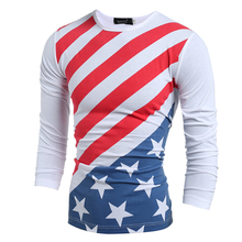 2017 New Men T-Shirt Long Sleeve Spring And Autumn Slim T Shirt American Flag Printed T-shirts O Neck Casual Tees Tops