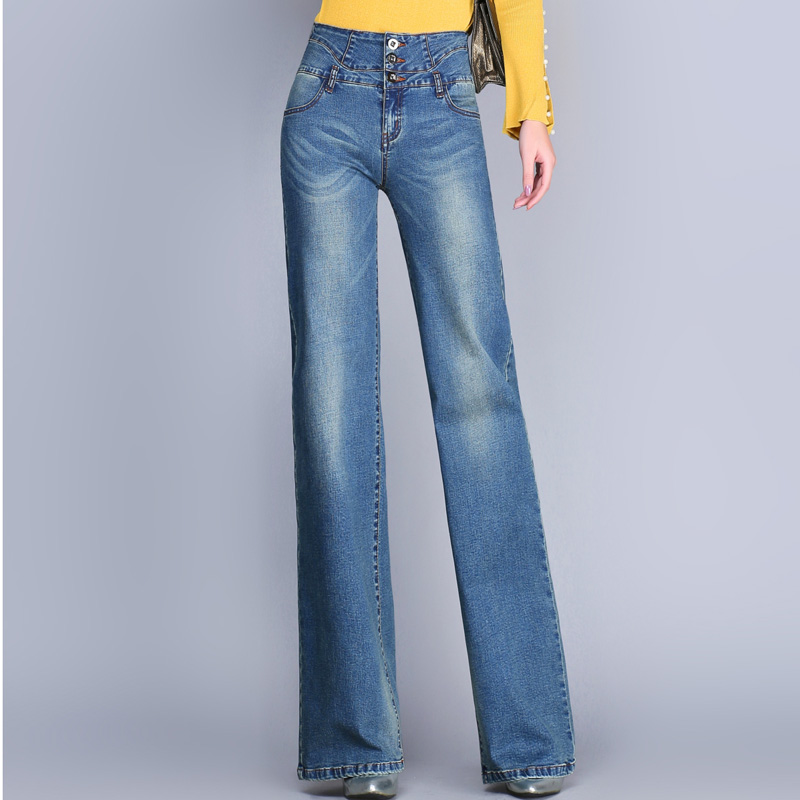 460bbdc52defb Plus Size 26 33 Women Quality Wide Leg Jeans Ladys Fashion Full Length Big  Straight Denim trousers Boot Cut Flares Pants -in Jeans from Women s  Clothing ...