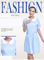 Venta caliente mujeres verano manga corta Médicos enfermera uniforme Hospital farmacia salón de belleza ropa de trabajo largo vestido bata de laboratorio