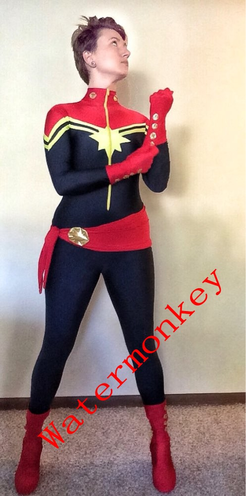 2018 New Navy Blue And Red Spandex Ms.Captain Marvel Superhero Costume For Halloween Costume