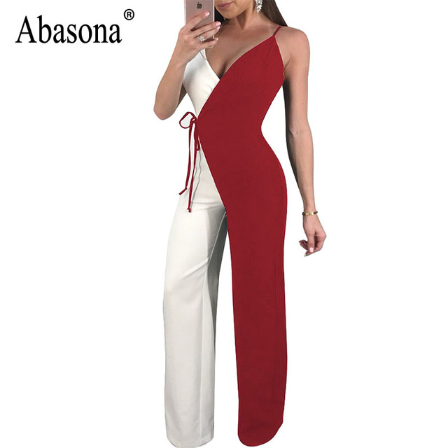 7a862aba794 Abasona Rompers Womens Jumpsuit Summer 2018 Casual Wide Leg Pant Bow Sashes  Women Jumpsuits Female Black Red Blue Overalls