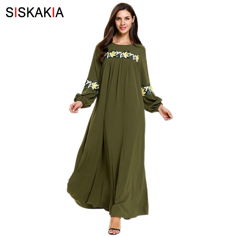 Siskakia Pregnant Woman Plus Size Dress Ankle-Length Floral Embroidery Muslim Ramadan Prayer Clothes Solid Maxi Dresses UAE 2019