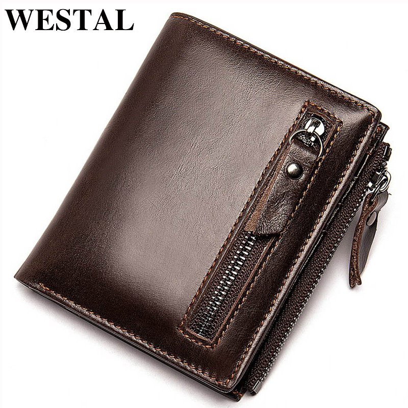 WESTAL Men's Wallet Genuine Leather Purse Wallet Male Small/Slim Wallets Coin Purse Men Wallets Leather Card Holders 6046