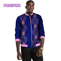 African Cloth for Men African Dashiki Retro Ethnic African Print Bomber Jacket Outerwear Coat Bazin Riche African Tops WYN547