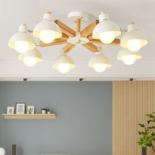 Modern Chandelier Lighting With Iron Lampshade For Living Room Nordic Wooden Lustres Wood Foyer ceiling chandelier 110v-220v