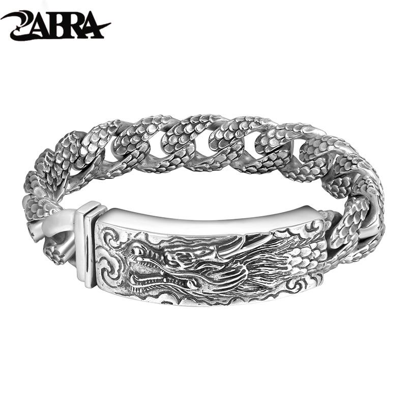 ZABRA Genuine 925 Sterling Silver Dragon Curb Chain Men Bracelet Vintage Punk Thai Sliver Handcrafted Bracelets