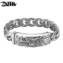 ZABRA Genuine 925 Sterling Silver Dragon Curb Chain Men Bracelet Vintage Punk Thai Sliver Handcrafted Bracelets For Men Jewelry