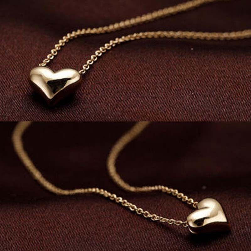 Fashion Romantic Gold Peach Heart Necklace Short Design Chain ...