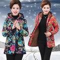 Mãe clothing wadded jaqueta quinquagenário outerwear do inverno das mulheres de médio-longo plus size de algodão-acolchoado jacket espessamento
