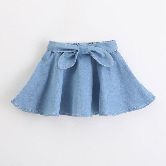 Бесплатная доставка летний новый детская одежда Джинсовая юбка девушки Лолита диких гофрированная юбка сплошной цвет мальчик розетка