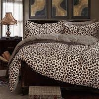 100 Cotton Duvet Cover Bedding Set Leopard Bedcolthes Damask Queen Size