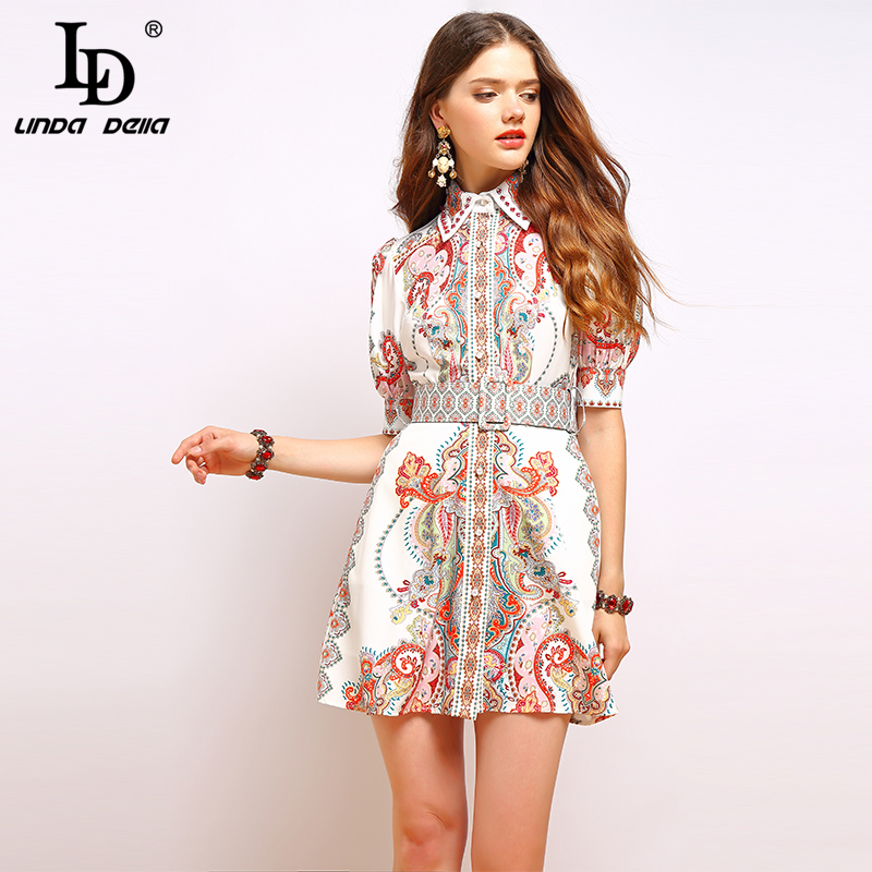 LD LINDA DELLA Fashion Runway Summer Dress Women s Lantern Sleeve Gorgeous Print Beading Belted Elegant