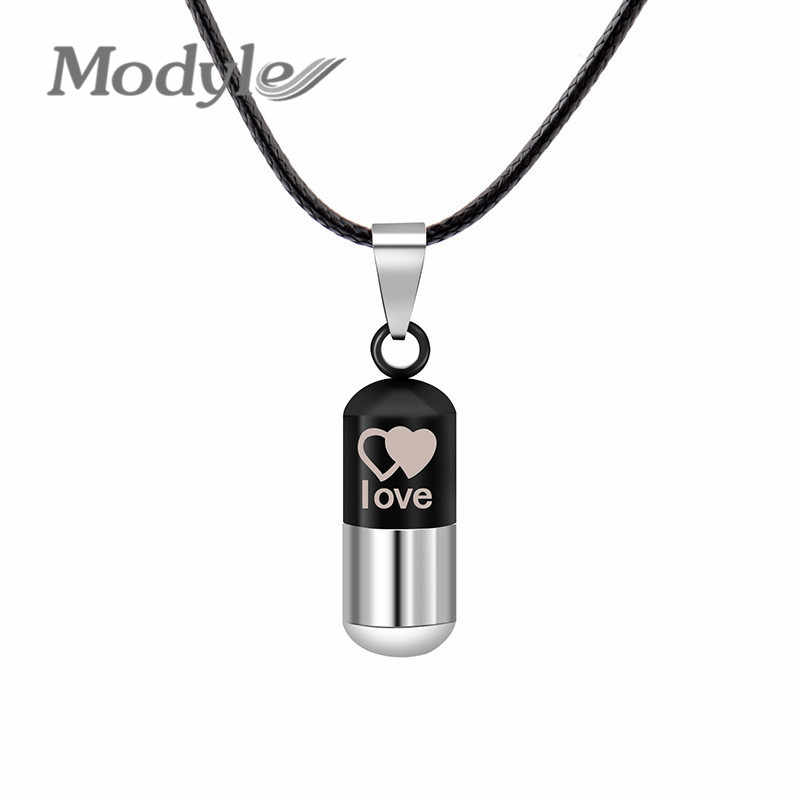Modyle Cool Men's Punk Open Capsule Necklace Perfume Bottle Pill Heart with Heart Stainless Steel Pendants Chain For Women Gift