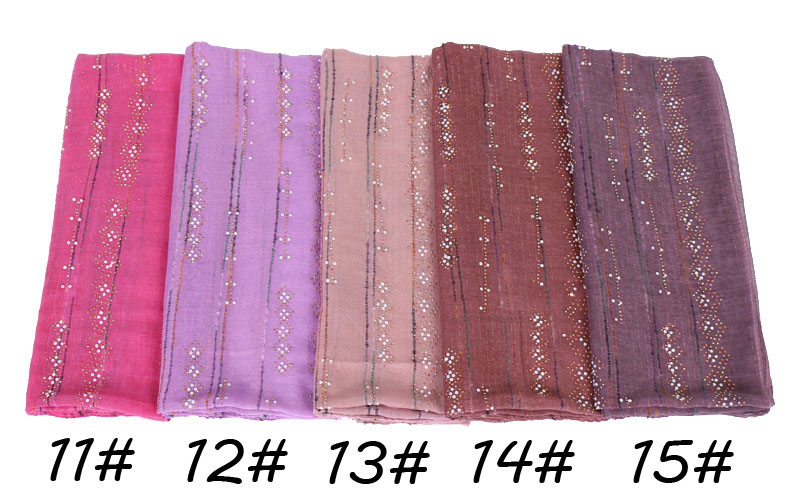 women fashion beads glitter scarves bandhnu cotton diamond pearls scarf muslim hijab wraps headband shawls/scarf 10pcs/lot