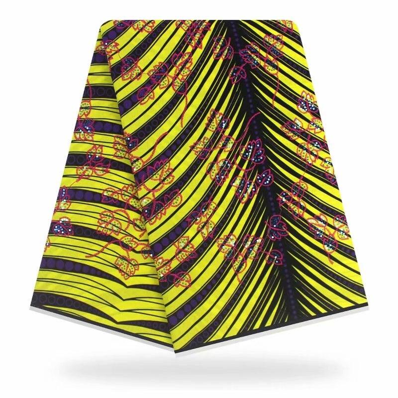 Paillettes mode africain cire impression tissu 100% coton dame gashion robe vêtements ankara dashiki cire néerlandais tissu