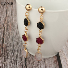 Canner Gold Stone Resin Earrings Geometric Long Drop For Women Statement Jewelry Gifts Accessories