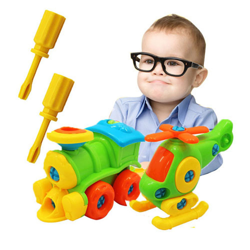 Puzzle Blocks Plastic Insert Train Helicopter Shape Screwing Disassembly Blocks For Children Educational Toys Scale Models