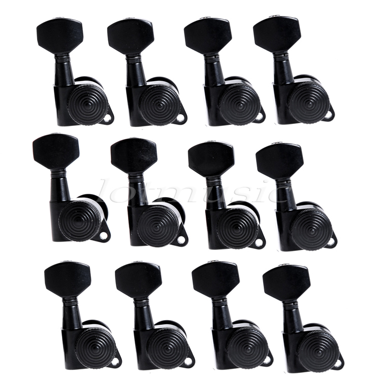 Locking Tuning Pegs Keys Tuners Machine Heads for Guitar Parts 12R Inline Black 12l black sealed guitar tuning pegs tuners skull button guitar parts
