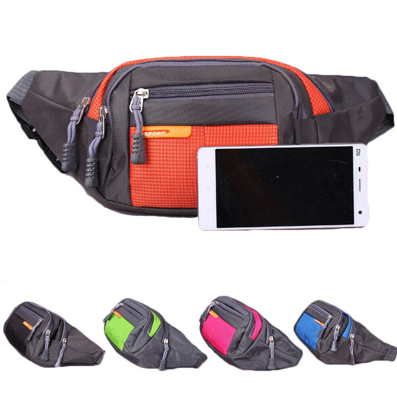 Galleria fotografica Hot Outdoor Waist Bum Bag fanny pack 4 zips Mens Ladies Unisex Sport Travel Bags