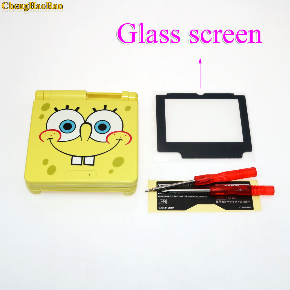 1set Glass Screen Plastic Full Repair Parts Replacement Housing Shell Cases Cover Kit Sets For SpongeBob Game boy GBA Advance SP-in Cases from Consumer Electronics