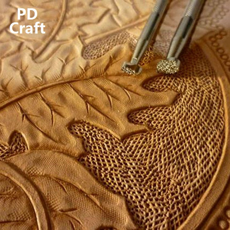Japanese Import Leather Carving Printing Tools Textured Background Print Pattern Grid Shadow DIY Vegetable Tanned Leather