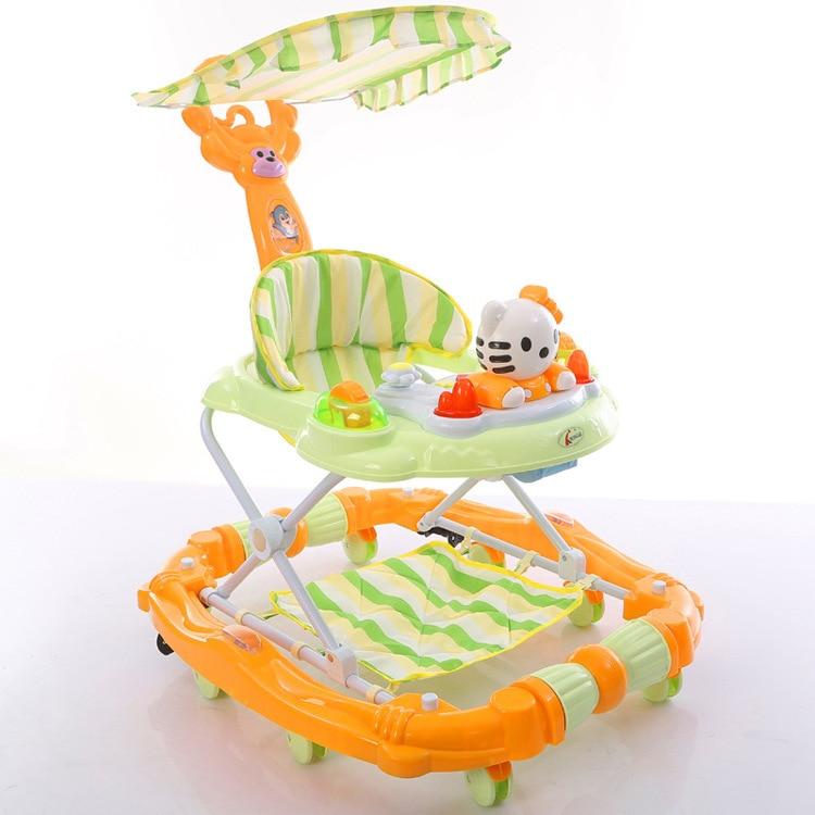 все цены на Baby Walker Car Function Children Baby Walker with Wheel Learning Walking Assistant Children Activity Adjustable Baby Walkers