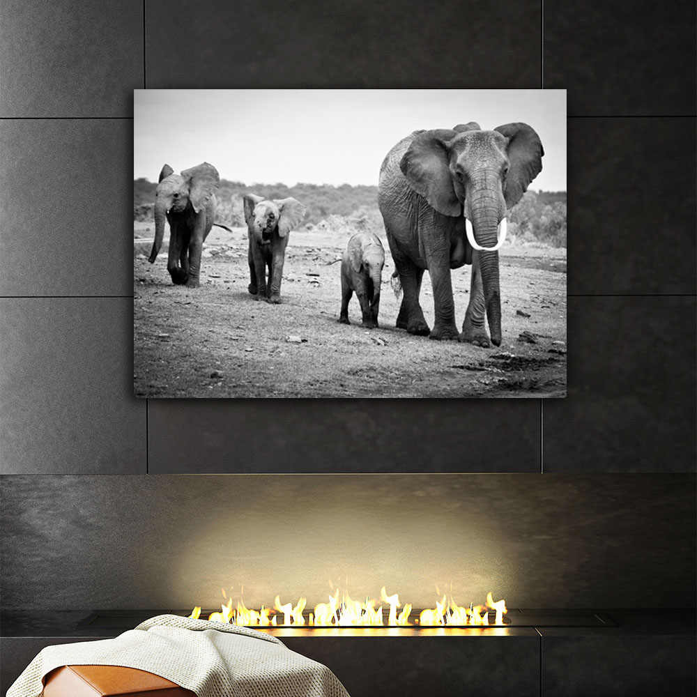 Black and white elephant with kids family wall mural pictures artwork canvas painting hanging for living room home decorative