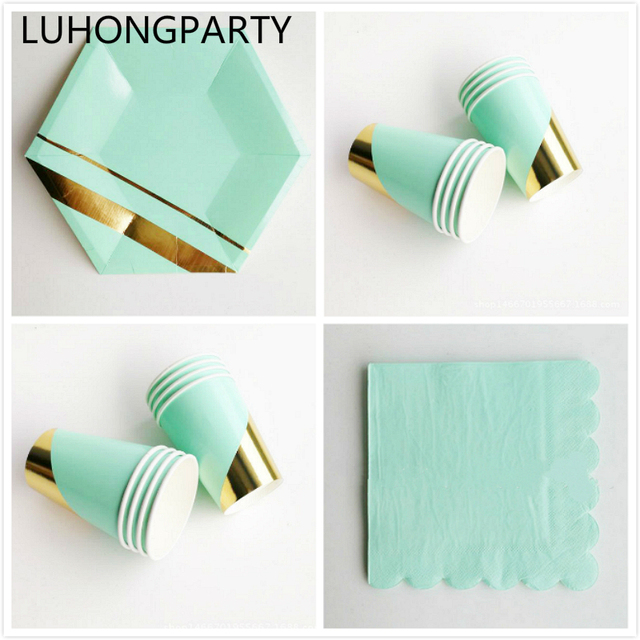 52pcs High-end Grade Mint Green Gold Foil Striped Paper Plates Cups Napkins Party Tableware  sc 1 st  AliExpress.com & 52pcs High end Grade Mint Green Gold Foil Striped Paper Plates Cups ...