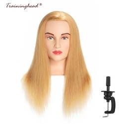 Traininghead 20-22 афро манекен головы 100 человеческих волос Парикмахерские Обучение руководителей манекен, кукла головы светлые для