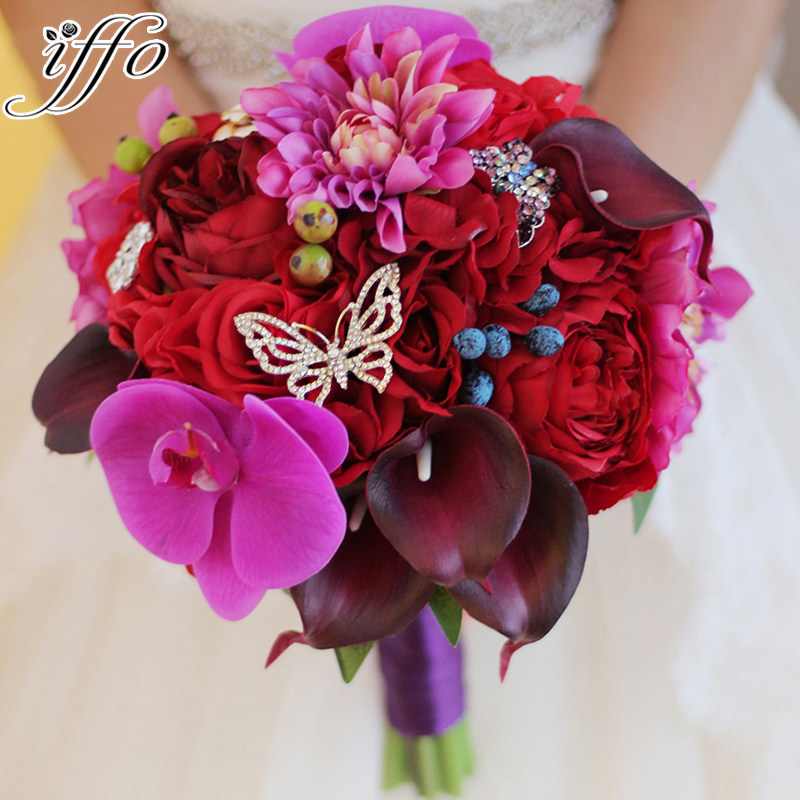 Hot Pink Wedding Bouquet Artificial Rose Phalaenopsis Calla Lily